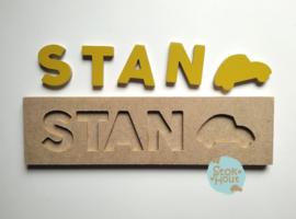 Naampuzzel 0-5 letters. Bijv. 'Stan - retro geel'