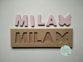 Naampuzzel 0-5 letters. Bijv. 'Mila - zacht roze'