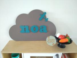 Naambord met figuur en 1-4 letters, bv Muis grijs