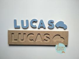 Naampuzzel 0-5 letters. Bijv. 'Lucas - zacht blauw'