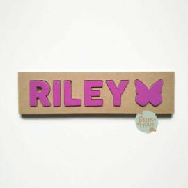 Naampuzzel 0-5 letters. Bijv. 'Riley - paars'