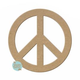 MDF figuur Peace teken 10cm x 6mm