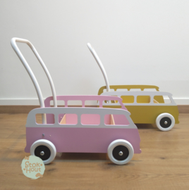 """Loopkarretje """"VW busje"""" (bijv. Krijtverf roze) (ST086)"""