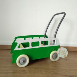 """Loopkarretje """"VW busje"""" (bijv. Klavertjes groen) (ST086)"""