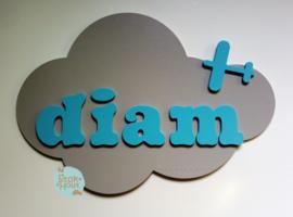 Naambord met figuur en 1-4 letters, bv Licht grijs