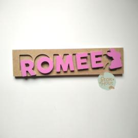 Naampuzzel 0-5 letters. Bijv. 'Romee - Princess roze'