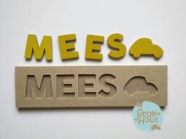 Naampuzzel 0-5 letters. Bijv. 'Mees - retro geel'