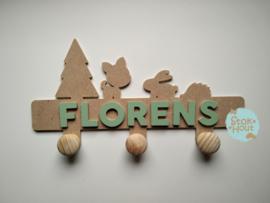 Naamkapstok - 6-8 letters. Bijv. 'florens'
