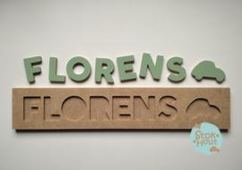 Naampuzzel 6-8 letters. Bijv. 'Florens - vintage groen'