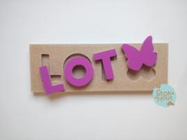 Naampuzzel 0-5 letters. Bijv. 'Lot - paars'