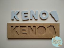 Naampuzzel 0-5 letters. Bijv. 'Keno - licht blauw'