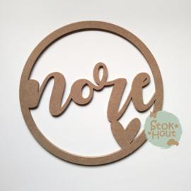 MDF Naamcirkel: 3-8 letters (voorbeeld Nore)(M473)