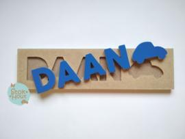 Naampuzzel 0-5 letters. Bijv. 'Daan - donker blauw'