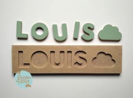 Naampuzzel 0-5 letters. Bijv. 'Louis - vintage groen'