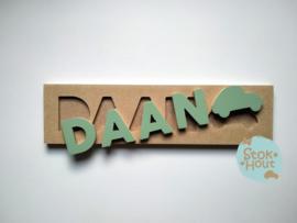 Naampuzzel 0-5 letters. Bijv. 'Daan - vintage groen'