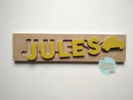 Naampuzzel 0-5 letters. Bijv. 'Jules - retro geel'