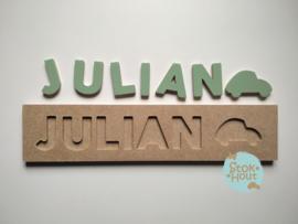 Naampuzzel 6-8 letters. Bijv. 'Julian - vintage groen'
