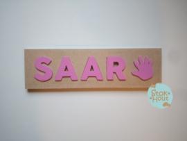 Naampuzzel 0-5 letters. Bijv. 'Saar - princess roze'