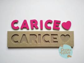 Naampuzzel 6-8 letters. Bijv. 'Carice - fuchsia roze'