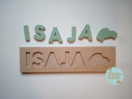 Naampuzzel 0-5 letters. Bijv. 'Isaja - vintage groen'