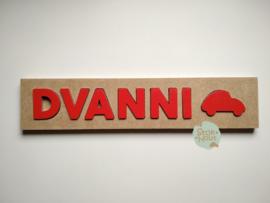 Naampuzzel 6-8 letters. Bijv. 'Dvanni - rood'