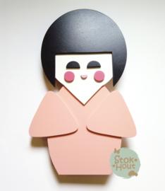 50cm groot 2,5D figuur Kokeshi / Gelukspopje (bijvoorbeeld Seventies roze) TM018