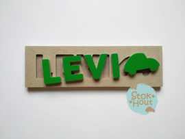Naampuzzel 0-5 letters. Bijv. 'Levi - klavertjes groen'