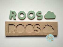 Naampuzzel 0-5 letters. Bijv. 'Roos - vintage groen'