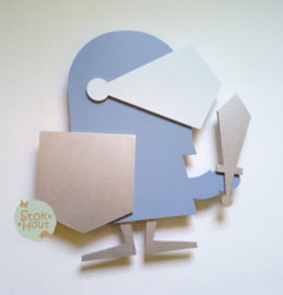 50cm groot 2,5D figuur Ridder (bijvoorbeeld Zacht blauw met licht blauw) TM016
