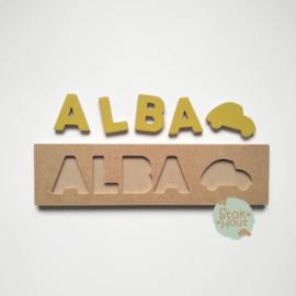 Naampuzzel 0-5 letters. Bijv. 'Alba - retro geel'
