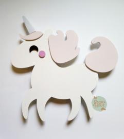 50cm groot 2,5D figuur Eenhoorn (bijvoorbeeld wit - zacht roze) TM015