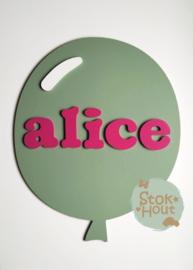 Naambord met figuur en 5-8 letters, bv Vintage groen