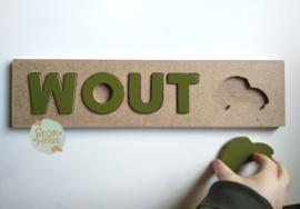 Naampuzzel 0-5 letters. Bijv. 'wout - soldaat groen'