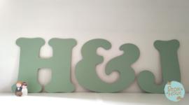 Gastenboekletters (2 letters + figuur) Bijv. Vintage groen