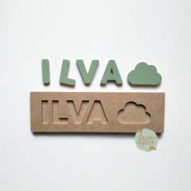 Naampuzzel 0-5 letters. Bijv. 'Ilva - vintage groen'