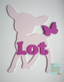 Naambord met figuur en 1-4 letters, bv Licht roze