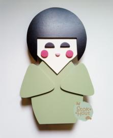 50cm groot 2,5D figuur Kokeshi / Gelukspopje (bijvoorbeeld Vintage groen) TM018
