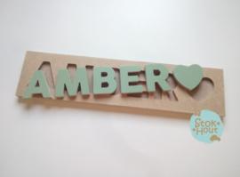 Naampuzzel 0-5 letters. Bijv. 'Amber - vintage groen'