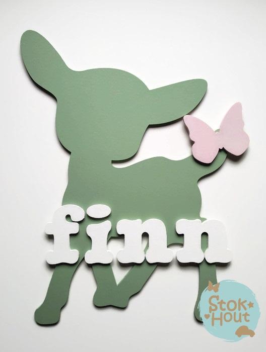 Naambord met figuur en 1-4 letters, bv Vintage groen
