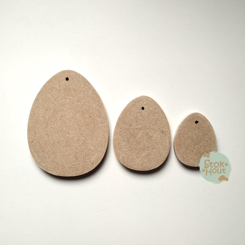 MDF figuur: Setje paaseitjes met gaatje (10cm, 7,5cm en 5cm)