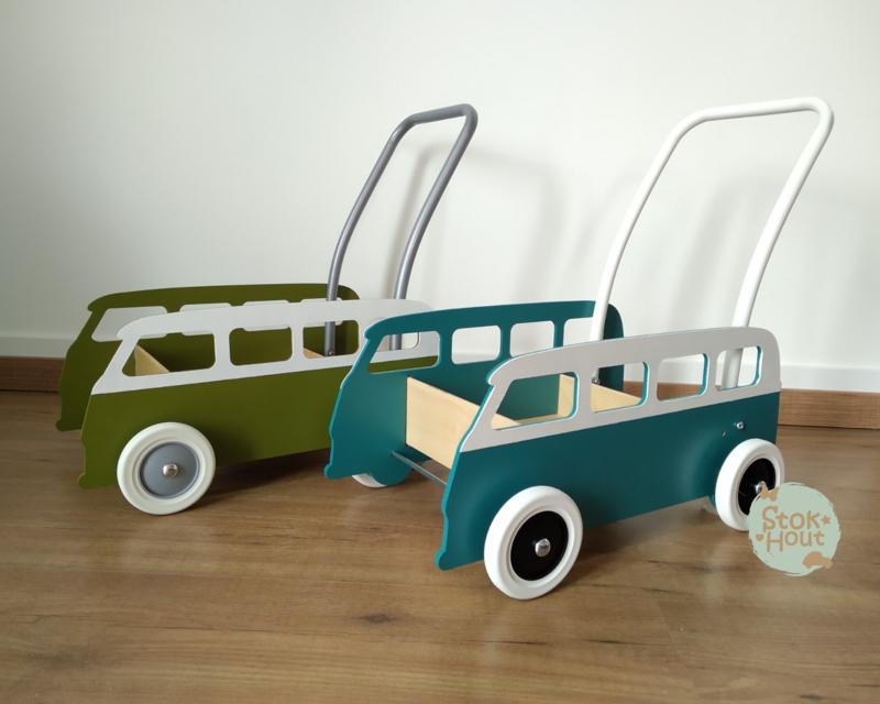 "Loopkarretje ""VW busje"" (Petrol blauw) (ST086)"