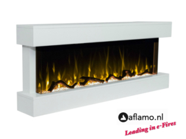 Aflamo Modena White - Wall Hanging Electric Fireplace
