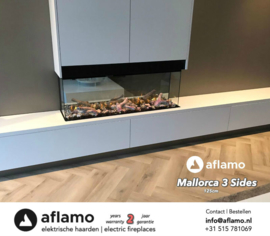 Aflamo Three Sided 124cm - Built-in Electric Fireplace