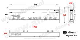 Aflamo Imperial 182cm - Elektrische inbouwhaard