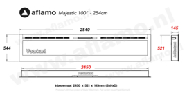 Aflamo Majestic 254cm - Elektrische inbouwhaard