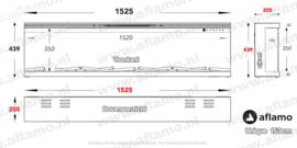 3-Zijdige haard inbouw - Aflamo Unique 153cm