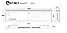 Aflamo Royal Paris 152cm - Elektrische inbouwhaard