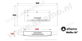 Aflamo Malibu36 Wit- Elektrische wandhaard