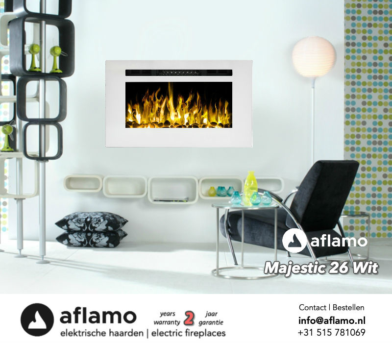 Aflamo Majestic 26 inch White - Built-in Electric Fireplace