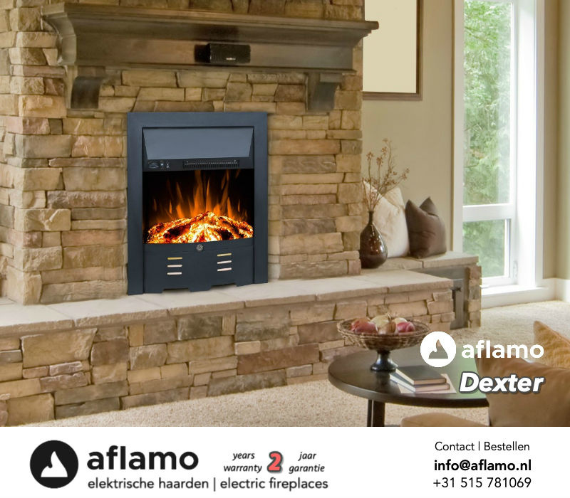 Aflamo Dexter Black - Freestanding electric fireplace